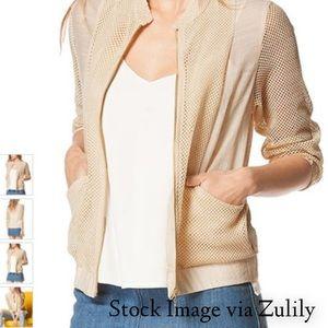 Beige Mesh Zip-Up Jacket